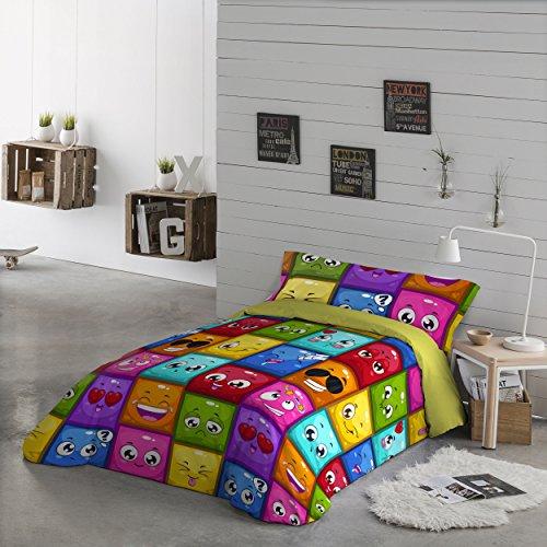 NATURALS Funda nordica 2 pcs para Cama cms d. Hello, 100% algodón, Multicolor, Camas de 90