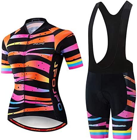 Cycling Jersey Sets Women Short Sleeve Biking Shirt Tops Bib Shorts Pad Bottom Mountain Cycling product image