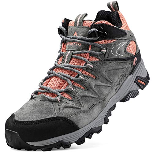 Hiking Boots for Women Breathable Climbing Trekking Shoes Outdoor Sports High-Top Traveling Sneakers (6520 Grey,6.5)