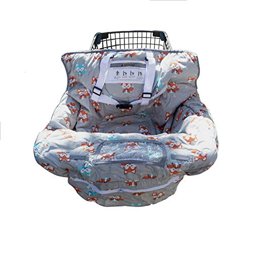 Shopping Cart Cover for Baby or Toddler | 2-in-1 High Chair Cover | Compact Universal Fit | Unisex for Boy or Girl | Includes Carry Bag | Machine Washable | Fits Restaurant Highchair