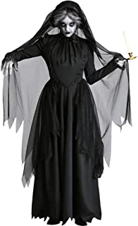 GWNJSSX Halloween Costume Deadly Ghostly Zombie Bride Womens Adults Scary Witch Size Large,Black-XS