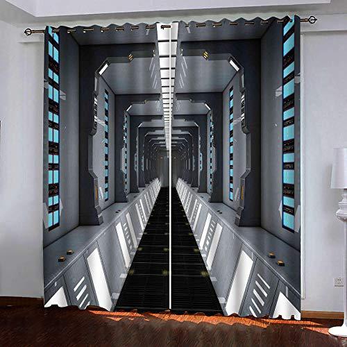 ZGHNZZ Cortinas Térmicas Opacas,Personalidad del Túnel Cortinas con Aislamiento Térmico para Salón Oficina Hotel,Decorativas con Ojales 2 Paneles 140 X 160 Cm