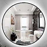 HHDD Espejo de Baño LED Redondo, Espejo de Maquillaje Antivaho Montado en la...