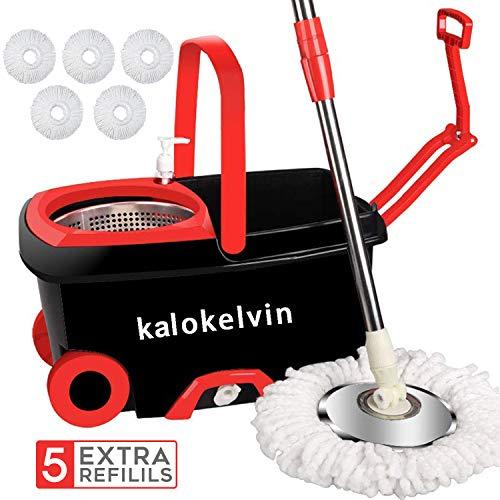 Kalokelvin Wischmop Clean Komplettset, Wischer Set Wischmopp mit Eimer Bodenwischer Set mit 5 Mikrofaser Wischkopfs und Rotationseimer mit Powerschleuder