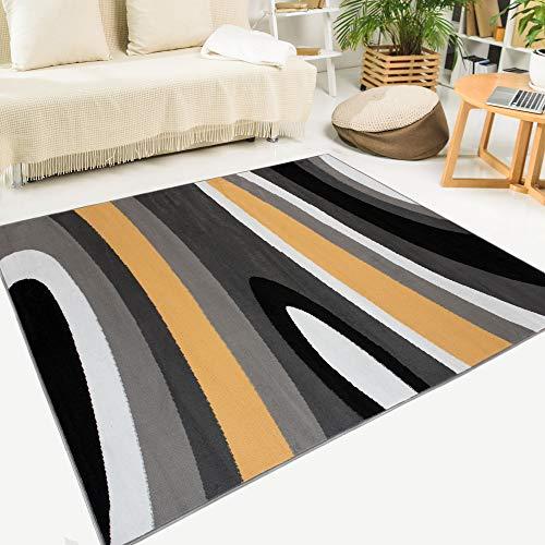 Tapiso Maya Alfombra de Salón Sala Comedor Diseño Moderno Naranja Gris Negro Blanco Ondas Rayas Delgada 180 x 250 cm