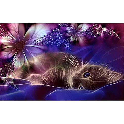 Diamond Painting by Numbers Kits DIY 5D Full Drill Gato flor Paste Crystal Rhinestone Adults Kids Handmade Embroidery Diamond Art Craft for Home Wall Decor30x60cm