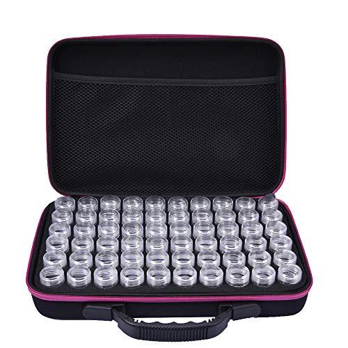 XGZ Diamant Stickbox, 60 Slots Durchsichtige Kunststoffperlen Aufbewahrungsboxen für Schmuckherstellung, Kreuzstich Werkzeuge (Pink)