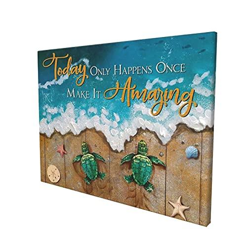 Lienzo inspirador para pared, diseño de tortuga en el mar verde, para decoración del hogar, regalo para la sala de estar, comedor, dormitorio, cocina, baño, oficina, decoración 60 x 90 cm, sin marco