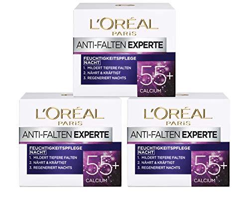 L\'Oréal Paris Falten Gesichtscreme, Anti-Falten Experte 55+ Nachtcreme für Damen ab 55 Jahren mit Calcium, 3er Pack (3 x 50 ml)