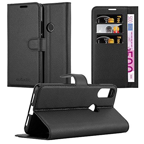 Cadorabo Hülle für WIKO View 2 PRO - Hülle in Phantom SCHWARZ – Handyhülle mit Kartenfach & Standfunktion - Hülle Cover Schutzhülle Etui Tasche Book Klapp Style