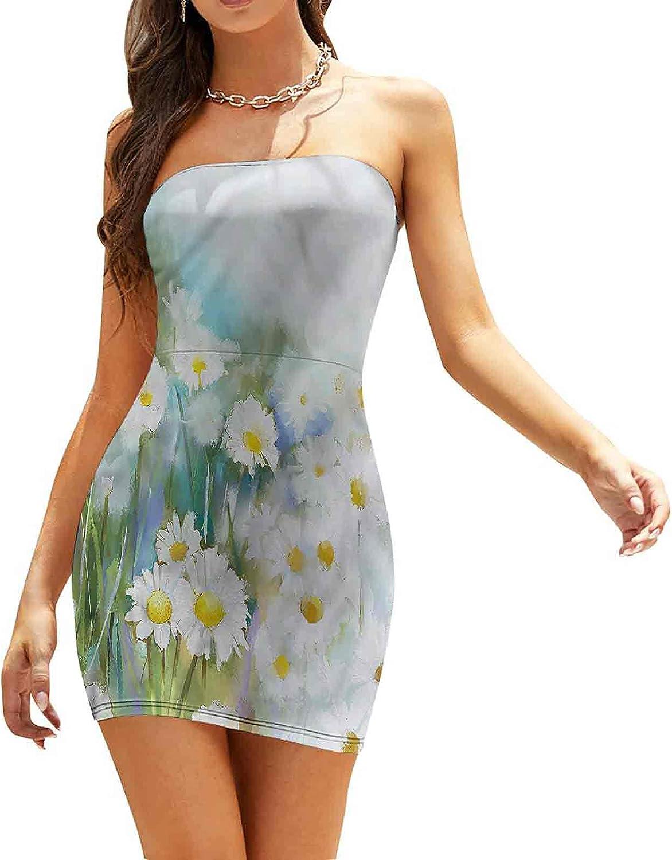 Women's Summer Strapless Dresses Radiogram Themed Blossom Dresses