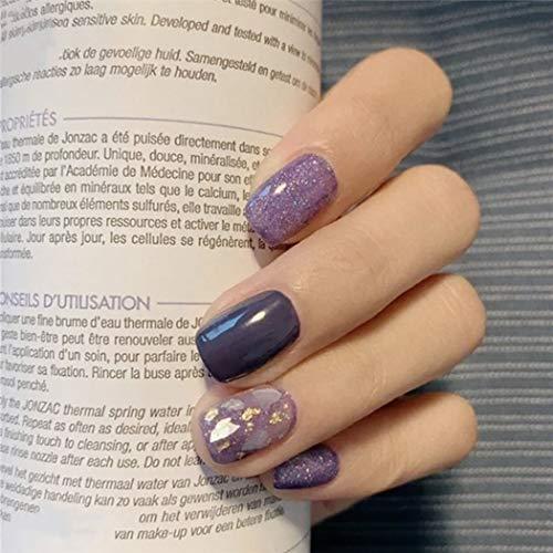 Ushiny Künstliche Fingernägel, 24 Stück, Kunst-Design, quadratisch, volle Abdeckung, mittelgroß, für Frauen und Mädchen (lila)