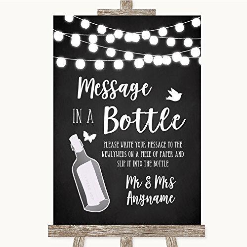 Krijtstijl zwart & wit licht collectie krijt stijl zwart & wit lichten bericht in een fles bruiloft teken Framed Oak Small