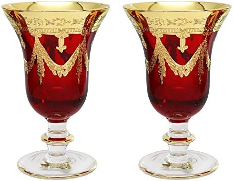 Interglass Italy Set of OFFicial mail order 2 Crystal Glasses Bargain Wine Gold-Plated 24K