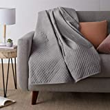 Amazon Basics Quilted Minky Weighted Blanket Cover - 48' x 72' (Twin), Dark Grey