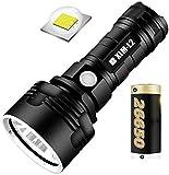 Linterna recargable USB, 30000-100000 lúmenes Lámpara de luz de flash LED impermeable de alta potencia Ultra brillante, pantalla portátil Linterna de batería (Batería L2 2500mAh / 1 batería)