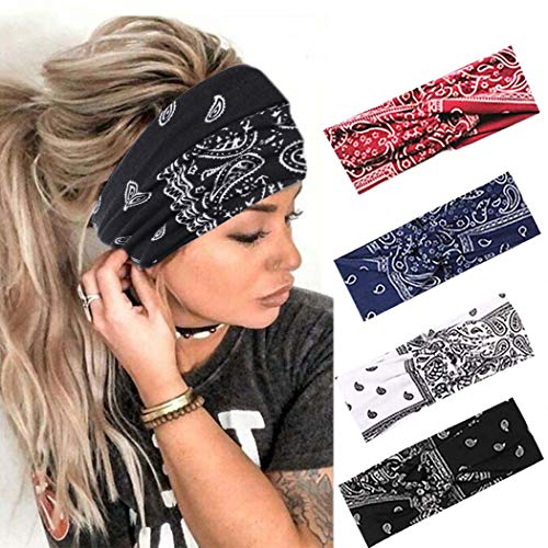 Urieo Boho Headbands Stretch Paisley Print Bandana Headband Criss Cross Hair Bands Knotted Head Wrap Yoga Workout Daily for Women and Girls (Pack of 4)