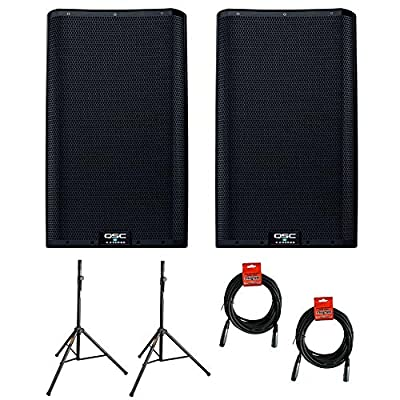"""QSC K12.2 Active 12"""" Powered 2000 Watt Loudspeaker - Open Box (Pair) with (2) Steel Speaker Stand & (2) XLR Cable Bundle from QSC"""