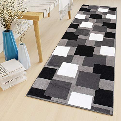 Tapiso Luxury Alfombra de Pasillo Cocina Escalera Diseño Moderno Gris Blanco Negro Cuadrados Fina por Metros 70 x 300 cm