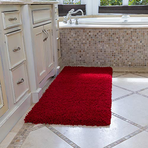 Ottomanson Soft Cozy Color Solid Shag Runner Rug Contemporary Hallway and Kitchen Shag Runner Rug, Red, 2'7