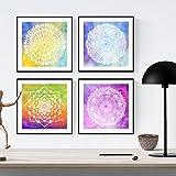 Nacnic Pack de láminas para enmarcar Juventud. Posters Cuadrados con imágenes de Mandalas. Decoración de hogar. Láminas para enmarcar. Papel 250 Gramos
