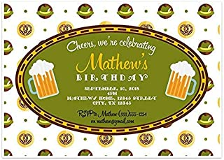 Green Hats Oktoberfest Birthday Party Invitations