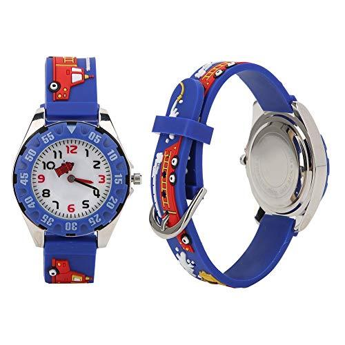 Kinder Boy Watch, 3D Cartoon PVC Armband Armbanduhr wasserdichte Quarz Armbanduhr für Kinder Kleinkind Jungen Mädchen 3-12 Jahre alt(Blau)