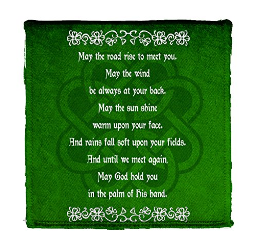 Irish Blessing Prayer May The Road Rise Up Green Celtic Knot Iron On Patch