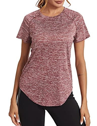 Wayleb Damen Sport T-Shirt Mesh Laufshirt Shortsleeve Yoga Tops Kurzarm Fitness Blusen Atmungsaktiv Oberteile Gym Casual Shirt Rotwein XL