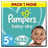 Pampers Baby Dry Couches Taille 5+ (12-17 kg), 132 couches, Pack 1 Mois