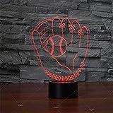 MAYIMY 3D Lampe Illusion, Night Light, Gant de Baseball Forme 3D Veilleuse Acrylique Lumière Cadeau LED Lampe de Table