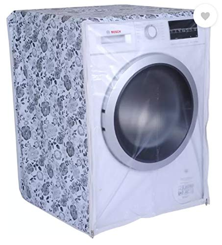 Front Load Washing Machine Cover for IFB 5.5 Kg 6 Kg & 6.5 Kg (50cmsX63cmsX81cms)_(Half White,Grey) Pack of : 1 Washing Machine Cover