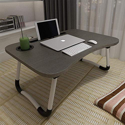 VLikeze Laptop Desk, Laptop Bed Table with Foldable Legs & Cup Slot, Reading Holder Notebook Stand Breakfast Bed Tray Book Holder for Sofa, Bed, Terrace, Balcony, Garden-Black