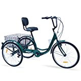 Hangnuo Adult Tricycles 7 Speed, Adult Tricycle Trikes 24/26 inch 3 Wheel Bikes, Three-Wheeled Bicycles Cruise Trike with Shopping Basket for Seniors Women Men (Dark Green, 24' Wheel/7-Speed)