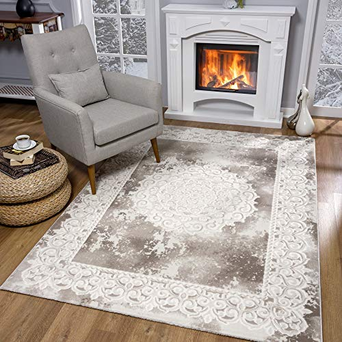 SANAT Teppiche für Wohnzimmer - Teppich Beige, Kurzflor Teppich Orientalisch, Öko-Tex 100 Zertifiziert, Größe: 80x150 cm