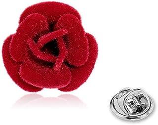 Solapa de la Flor 1pc Pernos de la Solapa Pin Rose Pin de la Flor Hecha a Mano Rose Dejar Broche Hombres Mujeres Traje (Rojo)