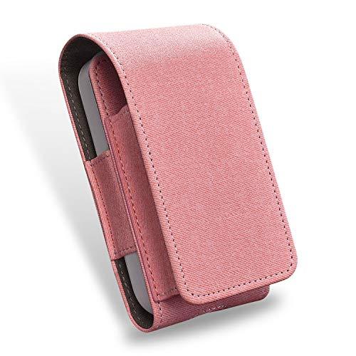 Sigarettendoosje, voor elektronische iQOS-sigaretten, beschermhoes/houder, ruimte voor portemonnee, van kunstleer, met kaarthouder, roze (roze) - 6942659334195