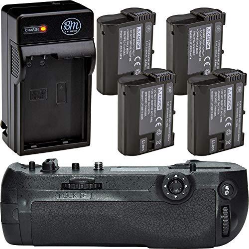Battery Grip Kit for Nikon D850 Digital SLR Camera - Includes Qty 4 BM Premium EN-EL15 Batteries + Rapid AC/DC Battery Charger + MB-D18 Replacement Battery Grip