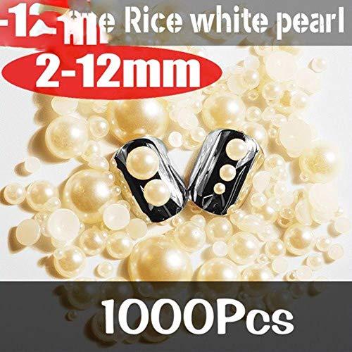 2-12mm Mixte Taille 1000 pcs/pack Blanc Ivoire Demi-Rond Résine Brillant De Mode Perle Nail Art Robe De Mariée DIY Décorations, Ivoire