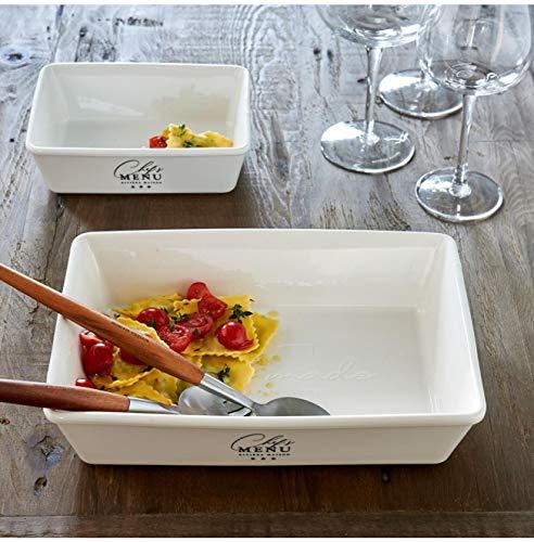 Riviera Maison - Chef's Menu - Oven Dish/Auflaufform - Porzellan - Weiss - (BxHxL) 14,5 x 6 x19,5cm - Gr. M