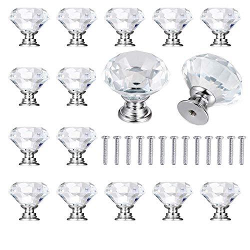 15 Pcs Pomo para armario, Pomos y Tiradores de Muebles, Tiradores de Cristal 30mm Pomos Puertas para Armarios Cajones Cocina Gabinetes Diamante, con Tornillo