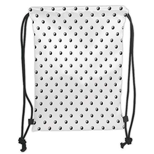 Fashion Printed Drawstring Backpacks Bags,Ying Yang,Polka Dots Yin Yang Patterns Universal Duality between Good and Bad Concept,White Black Soft Satin,5 Liter Capacity,Adjustable String Closure,Th