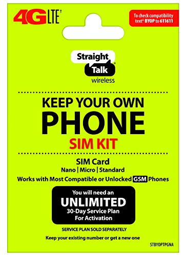 Straight Talk Keep Your Own Phone SIM Card Kit - AT&T GSM Compatible Devices Smartphone Skin DYI Fix Cell Call Cellphone sims simcard simscard Cell Phones