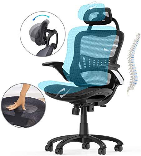Komene Bürostuhl Ergonomischer Drehstuhl Chefsessel Schreibtischstuhl mit Atmungsaktiv Netzrücken Einstellbarer Kopfstütze Rückenlehne und klappbare Armlehne (Schwarz)