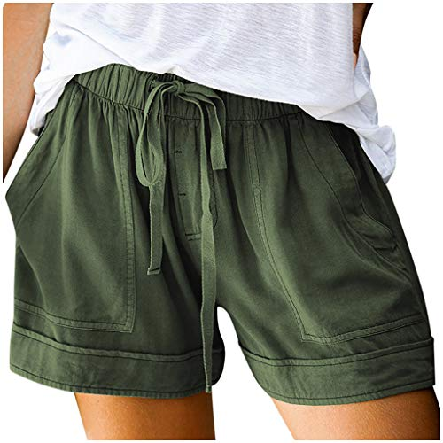 Xinantime Womens Girls Comfy Solid Drawstring Pant Splice Casual Elastic Waist Pocketed Loose Shorts Pants (Army Green,Small)