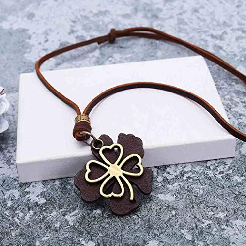 Yean Collar con colgante de trébol de cuatro hojas de cuero genuino vintage de hojas de la suerte, collares ajustables para mujeres