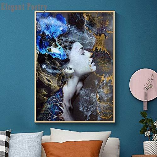 Blauwe Bloem Bos Abstract Schilderij Vrouwen Foto Wall Art Canvas Print Prints Home Decor Canvas 50x70 cm frameloos