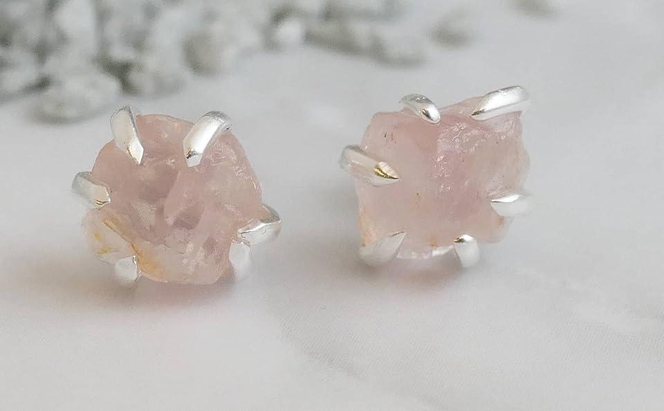 Raw Rose Quartz Sterling Silver Stud Earrings - Gemstone Jewelry Gift Ideas for Women