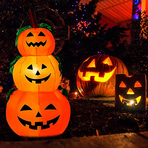 Halloween Decorations 4ft Inflatables Pumpkins – Halloween Decorations Blow Up Pumpkin Stack, Outdoor Indoor Halloween Decorations, Halloween Decorations LED Lights Pumpkin for Yard, Front Porch, Lawn