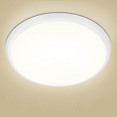 Lámpara de techo LED, Plafón LED sin parpadeo Oeegoo 18W 2000LM, Luz de techo LED IP54 a prueba de humedad para baño, sala de estar, cocina, balcón, pasillo, etc, 4000K blanco neutro, Ø25cm